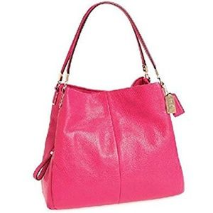 Large Madison Pebbled Pink Phoebe Coach Purse